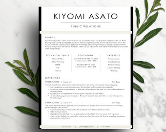 Modern Resume Template for Word (1 & 2 page resume, cover letter) CV Template | Professional resume, creative resume | Instant Download