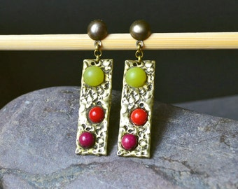 Bronze hammered Earrings geometric earrings for women textured earrings bronze rectangle Earrings boho chic Earrings gemstone Drop Earrings