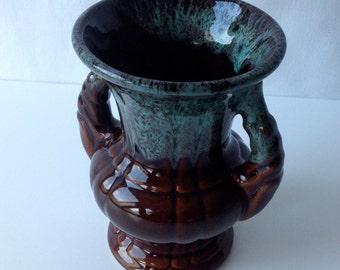 Green and brown glazed ceramic vase