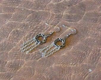 Chain Fringe Earrings, Silver Chain Earrings