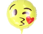 "Emoji Love Balloons 18"" Emoji Mylar Balloon / Emoji Kissing Love Balloon/ Birthday Balloon"