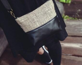 Shoulder bag, zipper bag, Jute bag, Vegan leather bag, Small bag, Handbag, Small Messenger Purse, Casual, Gift