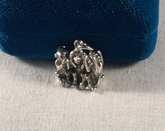 Hear no evil, see no evil, do no evil, sterling vintage Charm .925 #760