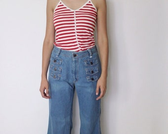 Vintage 1970s Bell Bottom Jeans 26.5 | 70s Denim Jeans | High Waist Bell Bottoms | High Waist Jeans | N'est-ce pas Jeans