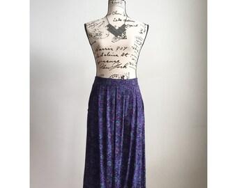 Vintage Purple Printed Skirt, 80s Skirt, Vintage Midi Skirt with Pockets, Midi Skirt with Pockets, Boho Skirt, Spring Skirt