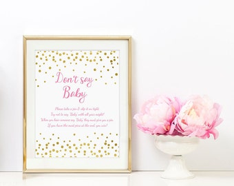 Dont say Baby Gold Foil Confetti Printable - Pink and Gold Baby Shower Game - 8x10 5x7 Dont Say Baby Sign - Instant Download   - BSG2
