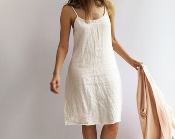 Slip Dress, Linen Slip Dress, Base Layer, Underdress, Night Dress, White nightgown, Underlayer dress, Sleeveless linen dress, gift