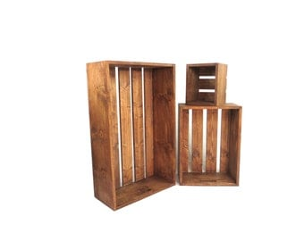 "Oversized Rustic Wood Crate Set with Built in Handles, 3 Large Wooden Crate Set, 36"" / 24"" / 12"" Sizes, Big Crates"