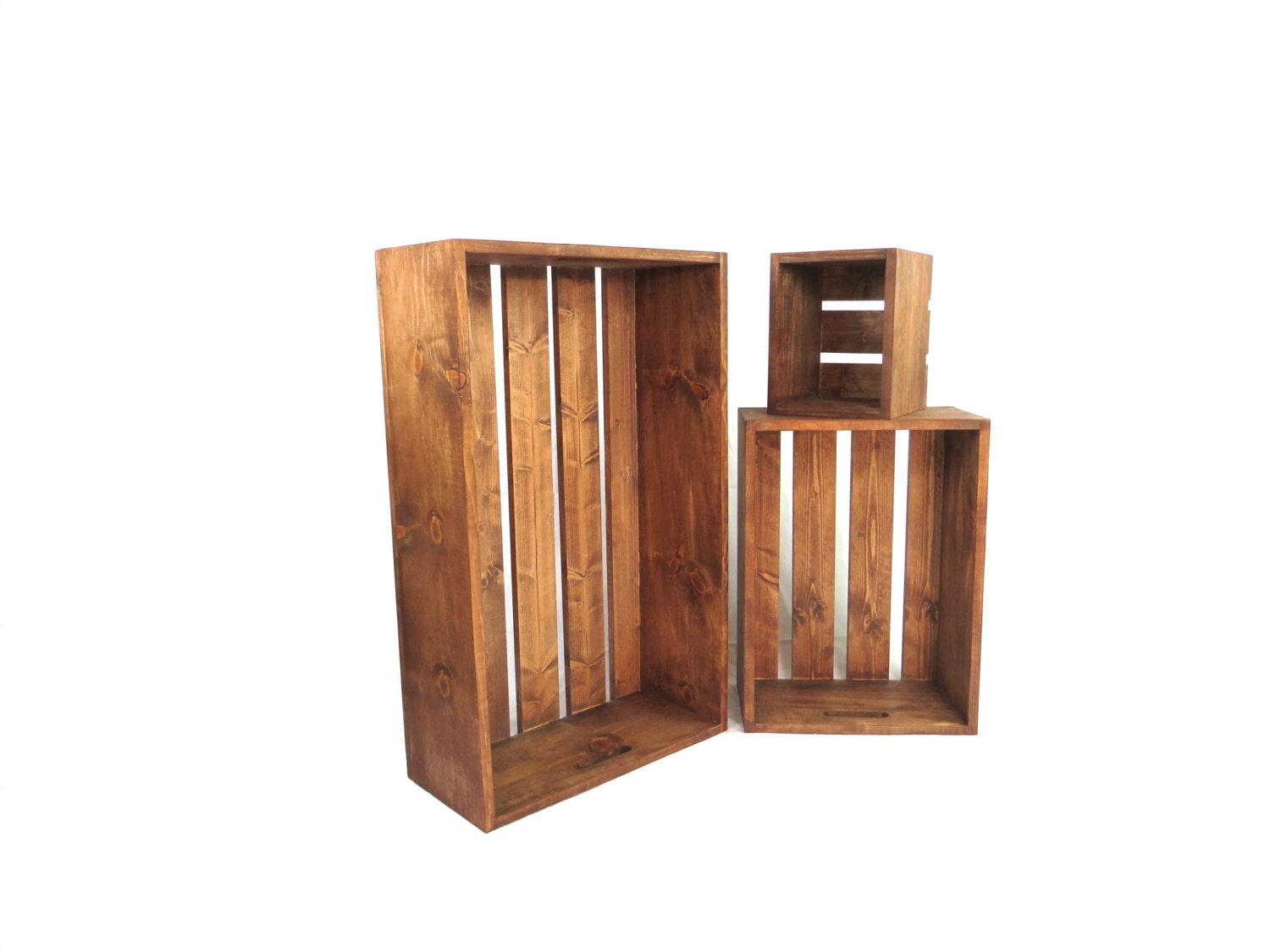 Wooden Crate With Handles Oversized Rustic Wood Crate Set With Built In Handles 3 Large