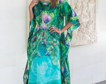 Sacred Path – Natural silk dress, Long maxi dress, Full length emerald gown, Goddess dress, Sacred geometry loose fitting dress, Angel dress