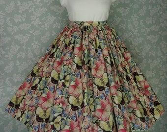 Vintage Style Swing Skirt, Butterflies, Circle Skirt, Handmade by Katie Stevens