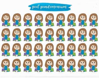 Brown Hair Light Skin Doodle Girl Shopping Planner Stickers