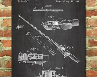 Fishermen Gift for Fisherman Gift Ideas for Dad, Gift Ideas for Men, Vintage Fishing Print, Sportsman Gift, Fishing Rod Fishing Patent P048