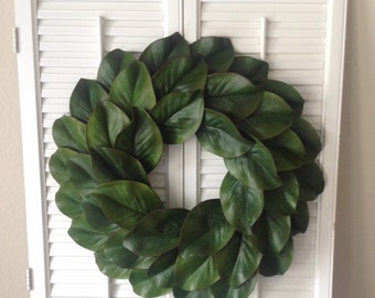 "18"" faux magnolia wreath, Magnolia wreath, Fixer upper style wreath, Farmhouse wreath, Summer wreath, Fall wreath"