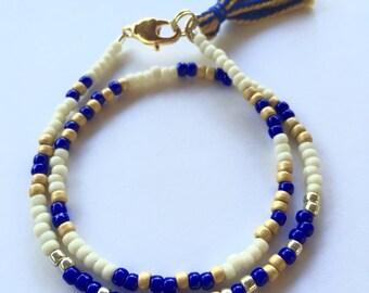 Theta Phi Alpha Bracelet, Sorority Bracelet, Blue, Gold, Silver, Big Little Bracelet, Beaded Wrap Bracelet, Tassel Bracelet, Morse Code