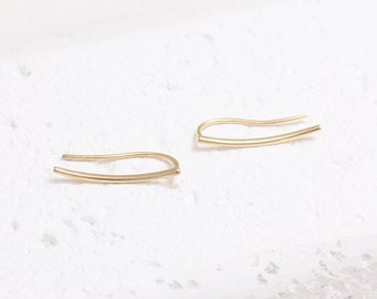 Minimalist Thin Line Ear Climbers, Slim Curved Bar Ear Crawlers-1pair