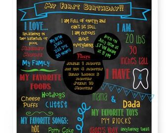 Mickey Mouse Birthday Chalkboard