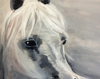 Black and White Canvas Painting of a Horse