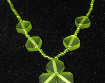 Green Glass and Acrylic Bead Necklace