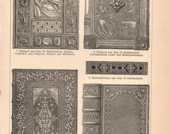 Antique Book Lithograph - Vintage Antique Book Lithograph from 1890