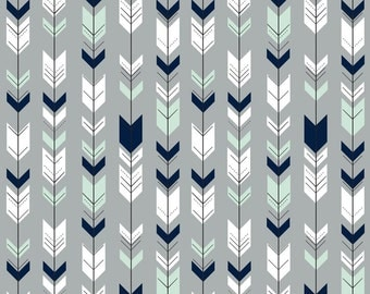 Fletching Arrows in Mint, Navy and White Quilting Fabric. Fabric by the Yard. Cotton Jersey Knit Minky. Arrow Tribal Woodland Gray Nursery