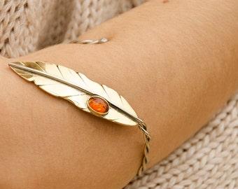 Woodland Bracelet, Amber Gemstone, Forest Elf Bracelet Cuff, Leaf Jewelry, Forearm Bracelet,Adjustable Bracelet, READY to Ship, Gift for Her