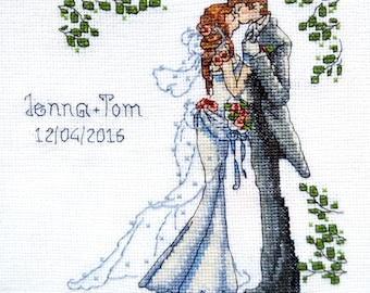 Completed counted cross stitch for sale Wedding metric Finished crossstitch Needlepoint gift Personalized ornament Embroidery modern design