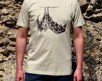 Mens Bat T-Shirt, Grey T Shirt for Men with Bat Print, Bat Shirt, Mens Clothing, Mens TShirt, Screen Printed Tshirt, Animal Printed T-Shirt