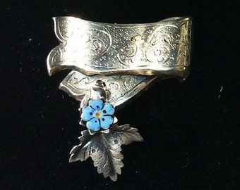 Vintage 1940's Forget Me Not Silver And Enamel Brooch BoutiqueByDanielle
