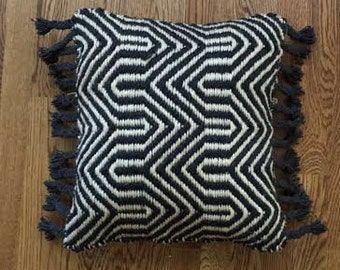 16x16 Hand Crafted Black and Tan Pillow