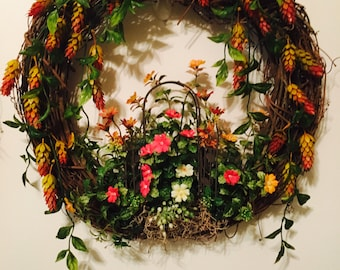 Grapevine wreath with garden trellis any occassion,home decor