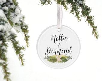 The FERN - Holiday Ornament NEWLY WEDS - Fern - Tropical Island Beach - Peach Blush Coral Wedding - Blush and Gold - First Christmas
