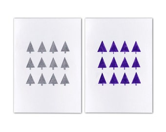 A6 Card - Trees - Hand Drawn - Metallic - Christmas Card - Australian Made