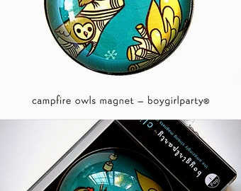 smores OWL CAMPFIRE magnet - girl scout gift / camping gifts / camping decor / camping art - owls with marshmallow sticks, camp fire