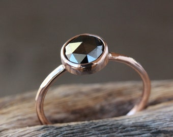 Rose Gold Black Diamond Ring, Rose Cut Diamond, 14k Rose Gold Band, Black Diamond Engagement Ring, Conflict Free Handmade Jewelry