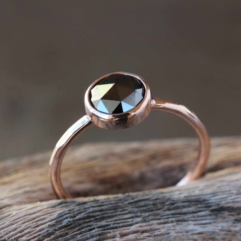black wedding ring handmade wedding rings Rose Gold Black Diamond Ring Rose Cut Diamond 14k Rose Gold Band Black Diamond Engagement Ring Conflict Free Handmade Jewelry
