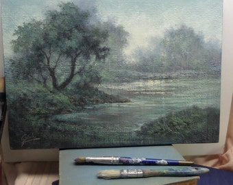 Original Acrylic, Tonalist Painting, by Griselda Tello, Cottage Chic Decor, wall art, lake landscape