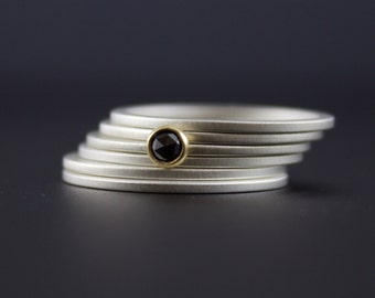 Rose Cut Black Diamond Ring Set - Bezel Set Black Diamond in 18K Yellow Gold with Sterling Silver Stacking Rings - Size 5 6 7 8 9