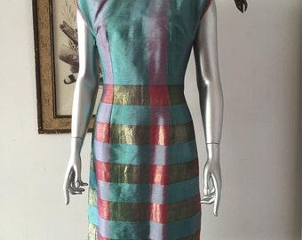 1950s Pearlescent Plaid Sheath Dress with Lattice Shoulders