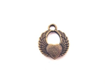 10 Brass Winged Heart Charms, G159