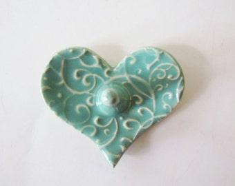 Heart Shaped Ring Holder, Ring Dish, Ring Bowl, Light Green, Ready to ship