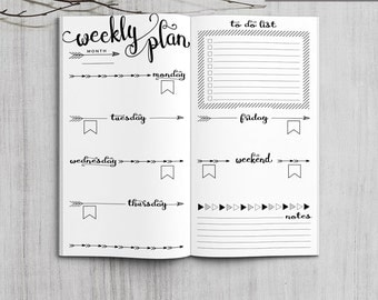 Printable Bullet Journal Weekly inserts, Midori Weekly Planner, Printable Midori Traveler's Notebook weekly planner inserts, PDF file