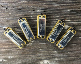 1or5pcs LOT! Mini Harmonica Realy Works! Silver vintage style working musical charm pendant supplies steam punk dudes n7
