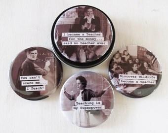 Funny Teacher Magnet Set- Teacher Gift- 4 Funny Teacher sayings- magnets in gift tin/pill/trinket box Vintage Teachers