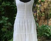 Long white cotton sundress small India hippie dress