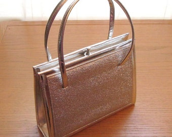 Silver Lame, 1970s, Metallic Bag, Silver Vinyl, Vintage Silver Purse, Elbief England, silver evening bag, disco bag, silver box purse