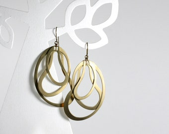 Large hoops dangle earrings, statement earrings, modern earrings, fashion earrings, geometric earring, contemporary jewelry
