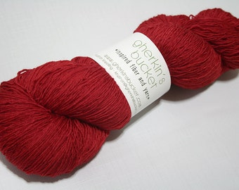 Hand Dyed Artisan Yarn, Tonal Kettle Dyed Heavy Lace Yarn, Semisolid SW Merino Yarn, Long Stride (750yds) - Red Out Loud