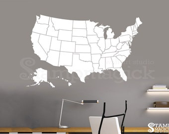 United States Of America Map Wall Decal Usa Wall Map Vinyl Chalkboard Dry Erase U S