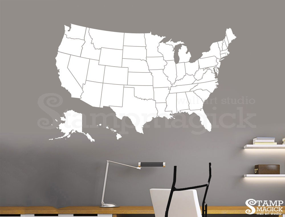United States Of America Map Wall Decal USA Wall Map Vinyl - Us map wall decal